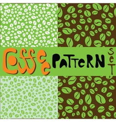 Coffee pattern set with green coffee beans vector