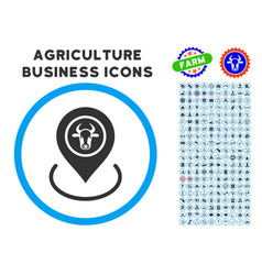 Cow location rounded icon with set vector