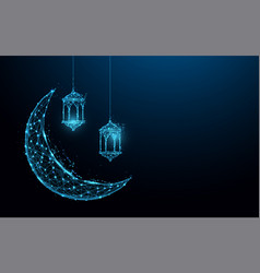 Crescent moon with hanging lamps islamic festival vector