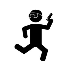 Danger bandit running with gun silhouette vector