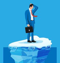 desperate businessman floats on iceberg vector image