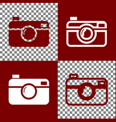 digital photo camera sign bordo and white vector image