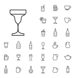 drinks outline thin flat digital icon set vector image