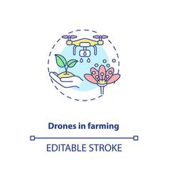 Drones in farming concept icon vector