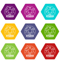 drum kit icons set 9 vector image