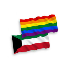 Flags of rainbow gay pride and kuwait on a white vector