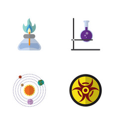 Flat icon study set of milky way flame flask and vector