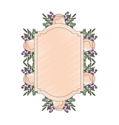 frame with rose flower beautiful isolated icon vector image