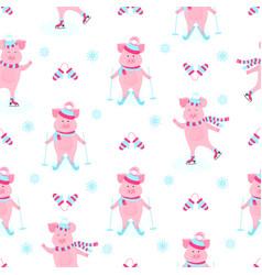 Funny hog on skates cute piggy skiing piglets on vector