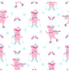 funny hog on skates cute piggy skiing piglets on vector image