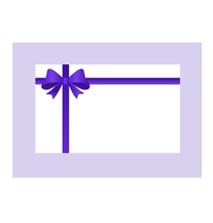 Gift Card with purple ribbon and a bow vector image
