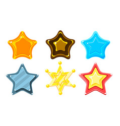 glossy colorful stars set game user interface vector image