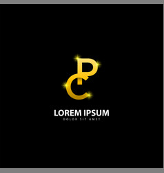 Gold letter p logo pc letter design with golden vector
