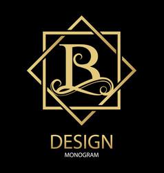 Golden letter b monogram on black vector