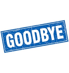 Goodbye blue square grunge stamp on white vector
