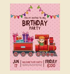 happy birthday invitation pink card vector image