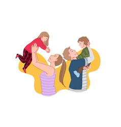 Happy family joyful meeting kids time concept vector