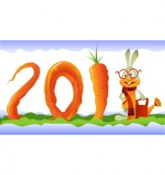 happy rabbit and curly carrot vector image