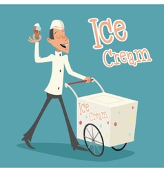 Happy Smiling Ice Cream Seller with Cart Retro vector