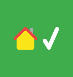 Icon concept of house with check mark on green vector