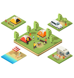 isometric camping territory composition vector image