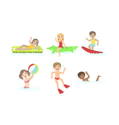 kids swimming and floating on inflatable toys in vector image