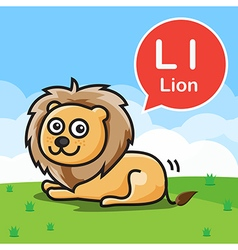 L Lion color cartoon and alphabet for children to vector image