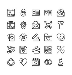 love and valentine line icons 13 vector image