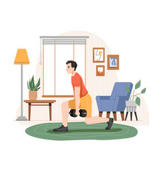 Man lifting dumbbells home sports and workout vector
