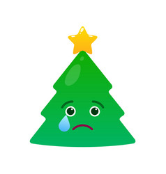 Melancholy christmas tree isolated emoticon vector