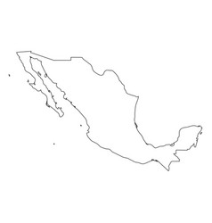 mexico - solid black outline border map of country vector image