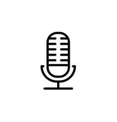 microphone line icon in flat style for app ui vector image
