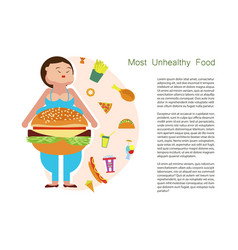 Most unhealthy food idea and diet tips vector
