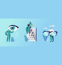 Oculist doctors set professional optician exam vector