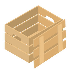 Open wood box icon isometric style vector