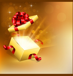 opened gift box with bright rays light vector image