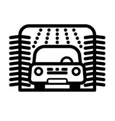 Passenger car at automatic car wash station vector