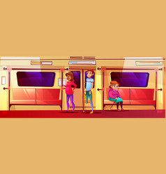 People in subway train vector