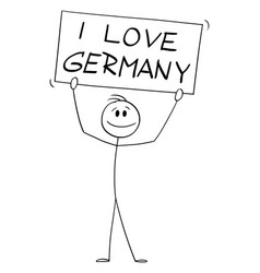 Person holding i love germany sign cartoon stick vector