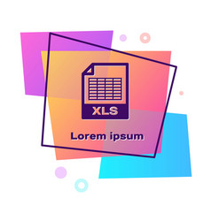Purple xls file document download xls button icon vector