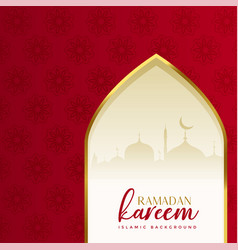 Red islamic ramadan kareem background with mosque vector