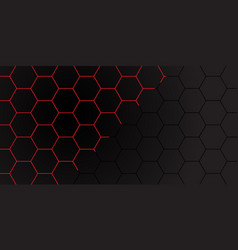 red line hexagon on dark grey mesh pattern vector image