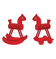 Red toy horses vector