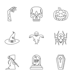 Resurrection of dead icons set outline style vector