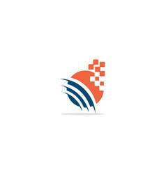 round science orbit digital logo vector image