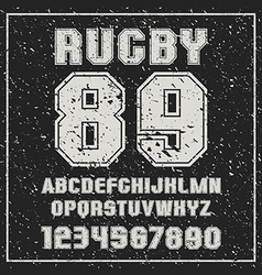 Sans serif font rugby team with the contours vector