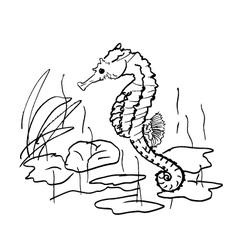 Seahorse design in ocean vector