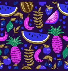 seamless pattern of fruits watermelon melon vector image