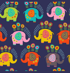 seamless pattern with floral elephants vector image