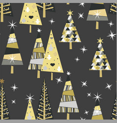 seamless pattern with golden spruce trees and vector image
